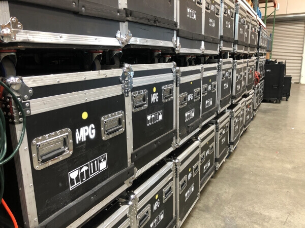 Row of stacked road cases
